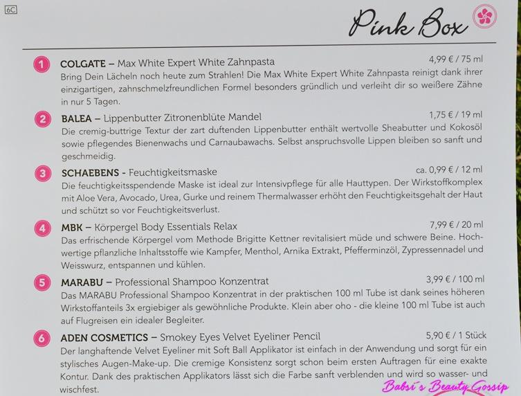 Beschreibung Pink Box Juni 2016